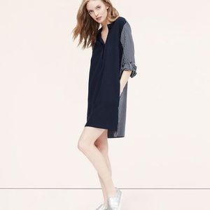 LOFT Stripeblock Two- Tone Shirtdress
